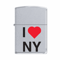 I Love New York Satin Chrome Zippo Lighter - ID# 63790-Discontinued