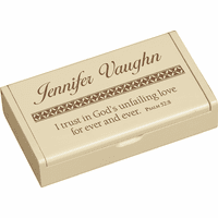 I Trust In God Personalized Cream Wood Box