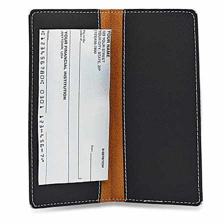 Initial Monogram Black Checkbook Cover