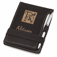 Initial Monogram Black Leatherette Notepad & Pen