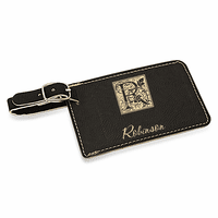 Initial Monogram Black Luggage Tag