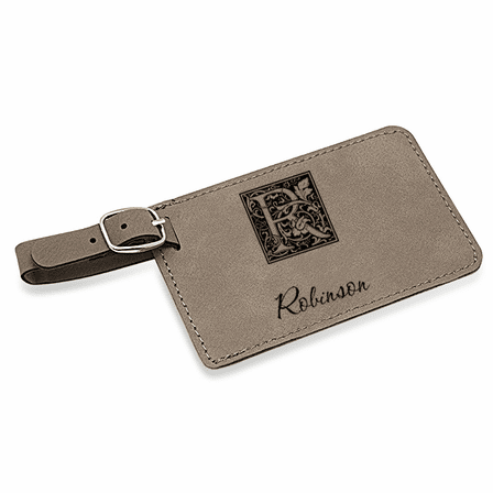 Initial Monogram Charcoal Luggage Tag
