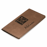 Initial Monogram Dark Brown Checkbook Cover