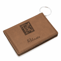 Initial Monogram Dark Brown ID Holder & Keychain