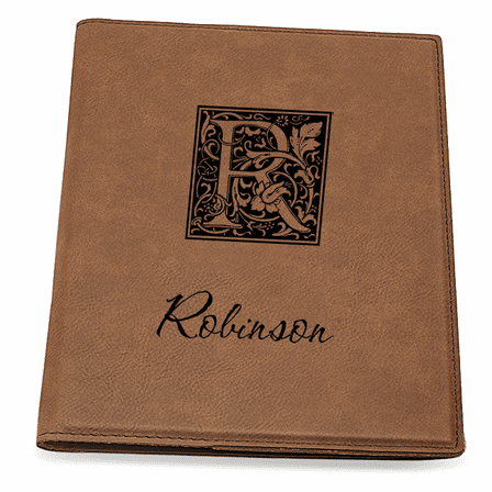 Initial Monogram Dark Brown Leatherette Portfolio