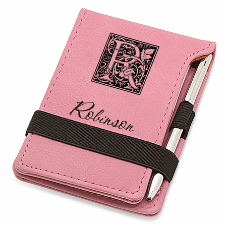 Initial Monogram Pink Leatherette Notepad & Pen