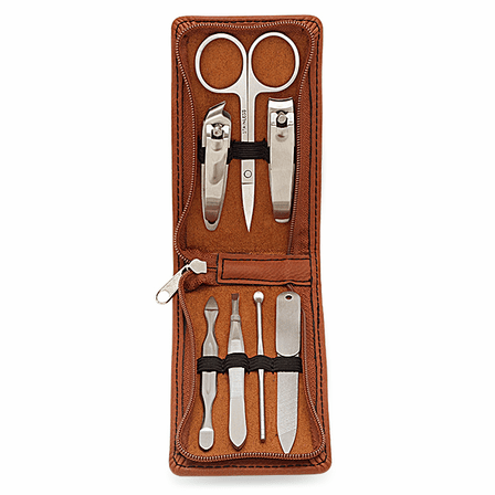 Initial Monogram Rawhide Leather Manicure Gift Set