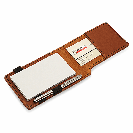 Initial Monogram Rawhide Leatherette Notepad & Pen