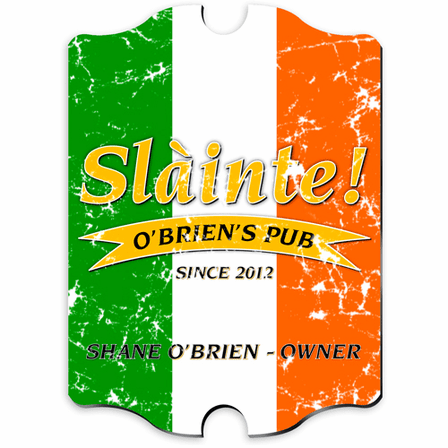 Irish Flag Vintage Pub Sign - Free Personalization