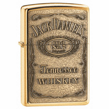 Jack Daniel's Label Brass Emblem High Polish Brass Zippo Lighter - ID# 254bjd-428