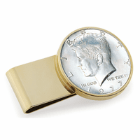 JFK Half Dollar Coin Polished Gold Money Clip