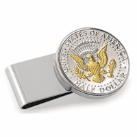 JFK Presidential Seal Coin Polished Silver  Money Clip