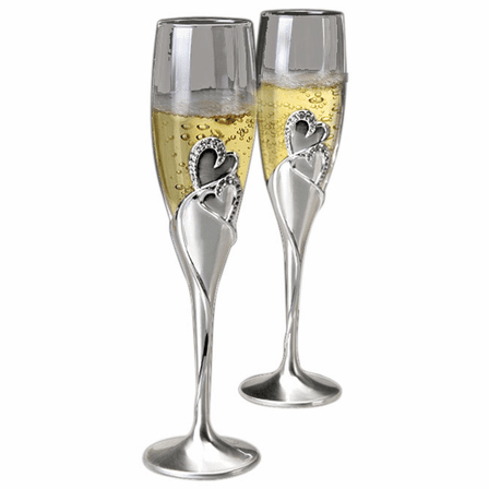 Joining Hearts Wedding Toast Flutes - Set Of Two