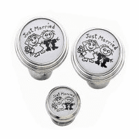 Just Married Silver Tone Cuff Links & Studs Set