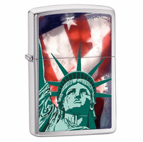 Lady Liberty Brushed Chrome Zippo Lighter - ID# 28282 - Discontinued