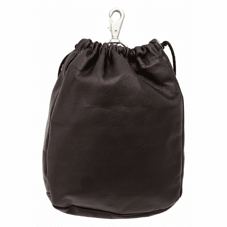 Large Leather Drawstring Golf Pouch