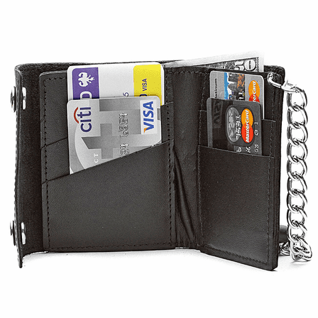 Leather Bifold Biker Wallet with Chain - Discontinued