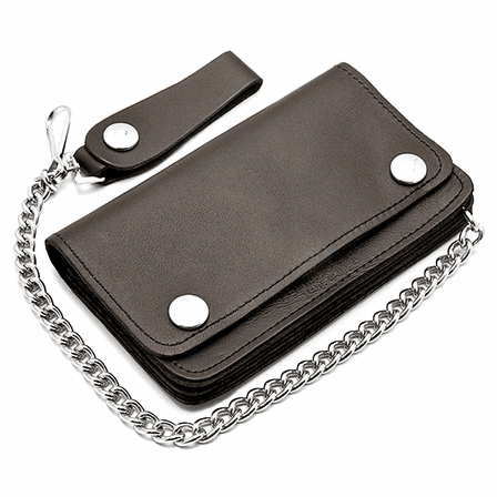 Leather Biker Wallet with Chain