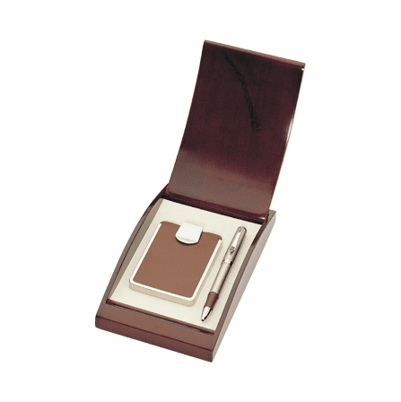 Leather Business Card Case with Ballpoint Pen Gift Set