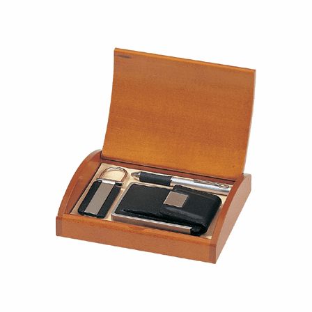 Leather Card Case, Keychain & Pen Gift Set - Free Personalization