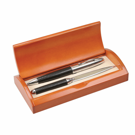 Leather & Chrome Pen and Letter Opener Set