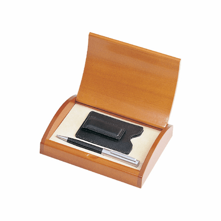 Leather Credit Card Wallet & Ballpoint Pen Gift Set - Free Personalization
