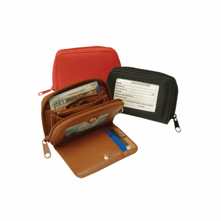Leather Travel Wallet with ID Window & Key FOB - Discontinued