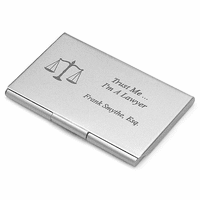 Legal Theme Engraved Business Card Holder