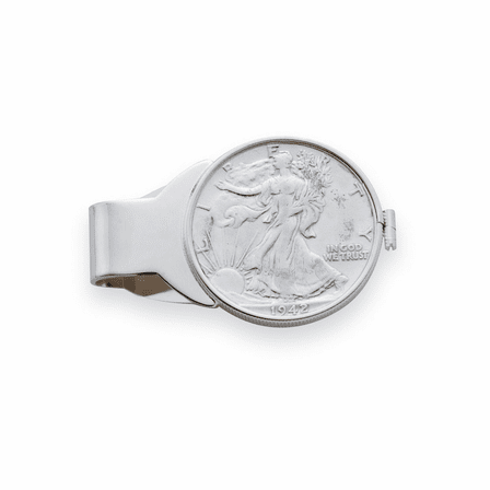 Liberty Half Dollar Sterling Silver Engravable Money Clip