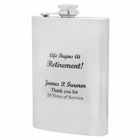 Life Begins At Retirement Engraved Flask
