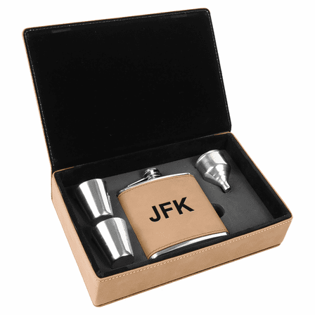 Light Brown & Black Personalized Flask Gift Set