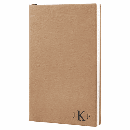 Light Brown Journal with Black Satin Bookmark with Roman Monogram