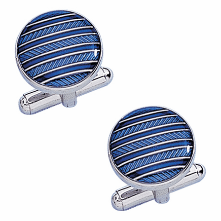 Light & Dark Blue Stiped Enamel & Sterling Silver Cufflinks - Discontinued