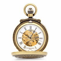 Lion Theme Mechanical Charles Hubert Pocket Watch & Chain #3866-G