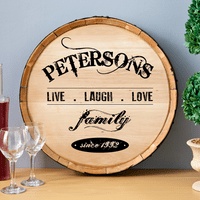 Live Laugh Love Personalized Wine Barrel Sign - Discontinued
