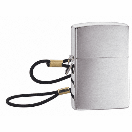 Lossproof w/Loop & Lanyard Brushed Chrome Zippo Lighter - ID# 275