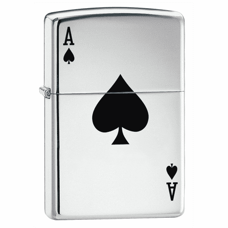 Lucky Ace High Polish Chrome Zippo Lighter - ID# 24011