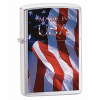 Made in USA Brushed Chrome Zippo Lighter - ID# 24797