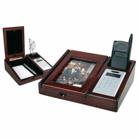 Mahogany Desk Organizer with Calculator & Picture Frame - Discontinued