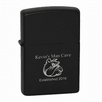 Man Cave  Black Matte Engravable Zippo Lighter - ID# 218