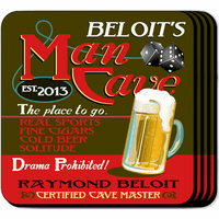 Man Cave Coaster Set - Free Personalization