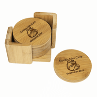 Man Cave   Round Bamboo Coaster Set