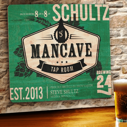 Man Cave Tap Room Wooden Bar Sign - Free Personalization