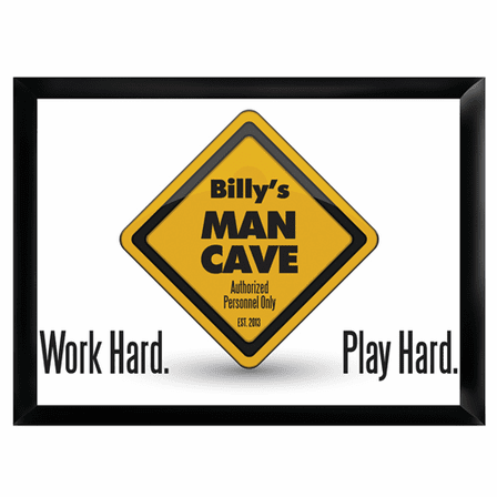 Man Cave -Work Hard Play Hard Pub Sign - Free Personalization