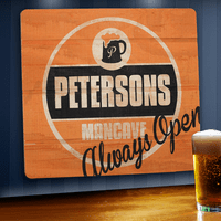 Mancave - Always Open Wooden Bar Sign - Free Personalization