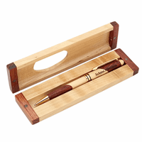 Maple & Rosewood Engraved Pen and Box