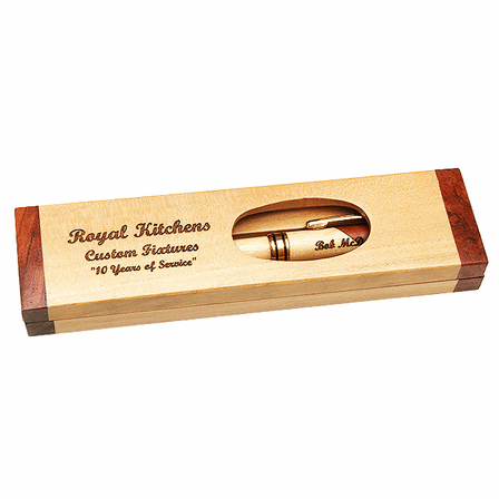 Custom Engraved Maple & Rosewood Two Tone Pen and Box