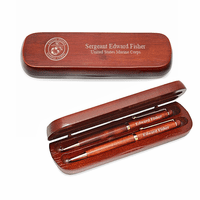 Marines Cherrywood Double Pen and Box Set