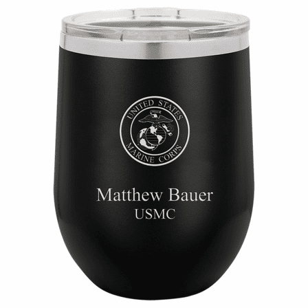 Marines Emblem 12 Ounce Black Insulated Stemless Wine Glass