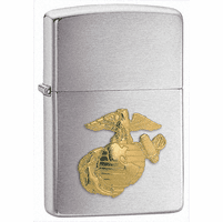 Marines Emblem Brushed Chrome Zippo Lighter - Free Engraving - ID# 280MAR